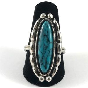 Beautiful Southwestern Faux Silver Turquoise Ring